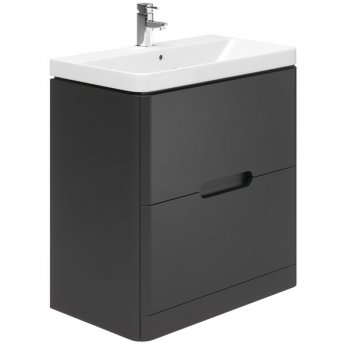Duchy Colorado Floor Standing 2-Drawer Vanity Unit with Basin 800mm Wide - Graphite Grey