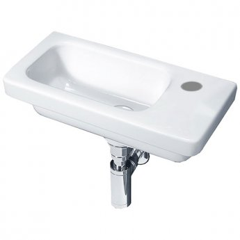 Duchy Ivy Slimline Wall Hung Basin, 450mm Wide, Right Handed 1 Tap Hole
