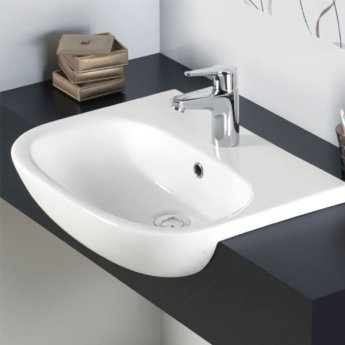 Duchy Lily Semi-Recessed Basin 520mm Wide 1 Tap Hole