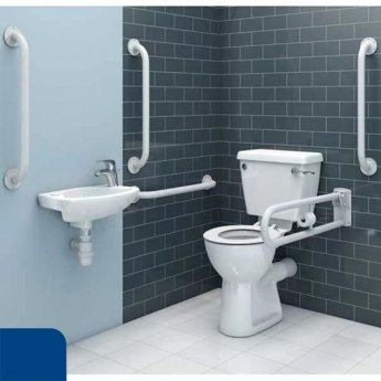 Duchy Doc M Pack with Close Couple Toilet and Basin + TMV - Blue Grab Rails