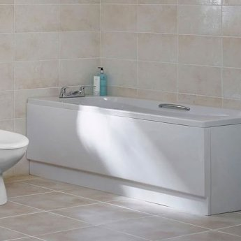 Duchy Ocean Single Ended Rectangular Bath with Leg Set, 1700mm x 700mm, 2 Tap Hole