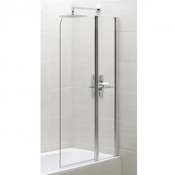 Duchy Spring Half Radius Bath Screen with Fixed Inline Panel 900mm Wide - 6mm Clear Glass