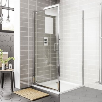 Duchy Spring Pivot Shower Door 700mm Wide - 6mm Clear Glass