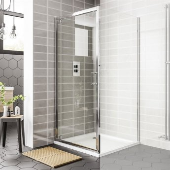 Duchy Spring Pivot Shower Door 800mm Wide - 6mm Clear Glass