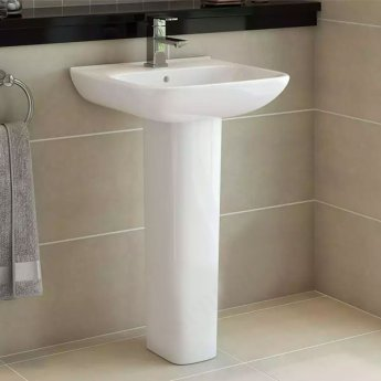 Duchy Violet Basin & Full Pedestal 520mm Wide 1 Tap Hole
