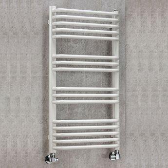 EcoRad Contour Designer Towel Rail, 900mm H x 500mm W, White