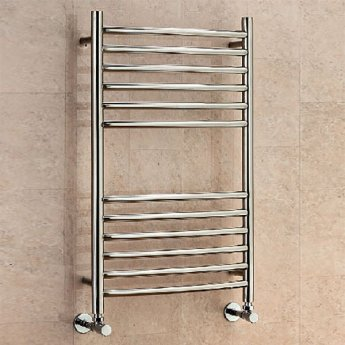 EcoRad Edge Curved Ladder Towel Rail, 1200mm H x 600mm W, Polished Stainless Steel