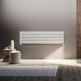 EcoRad Oval Tube Single Horizontal Radiator 600mm High x 1220mm Wide 10 Sections White