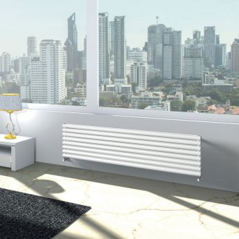 EcoRad Oval Tube Double Horizontal Radiator 420mm High x 1220mm Wide 7 Sections White