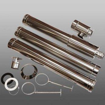 Firebird Stainless Steel 3m Balance Vertical Flue Kit for 20-35kW - White Coated