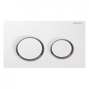 Geberit Omega20 Dual Flush Plate, White/Gloss Chrome
