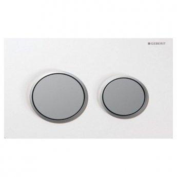 Geberit Omega20 Dual Flush Plate, White/Matt Chrome