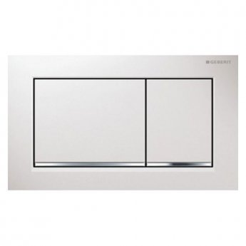 Geberit Omega30 Dual Flush Plate - White/Gloss Chrome
