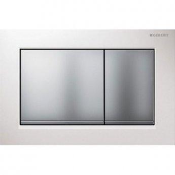 Geberit Omega30 Dual Flush Plate - White/Matt Chrome