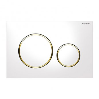 Geberit Sigma20 Dual Flush Plate - White / Gold Plated
