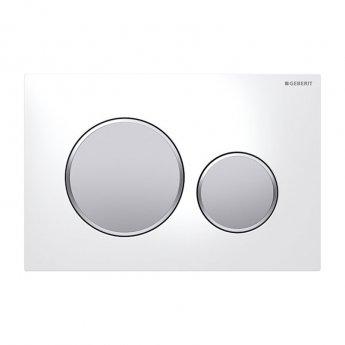 Geberit Sigma20 Dual Flush Plate - White / Matt Chrome