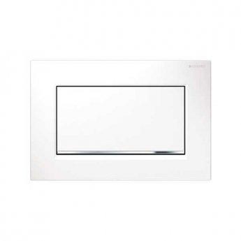 Geberit Sigma30 Single Flush Plate - Polished White/Gloss Chrome