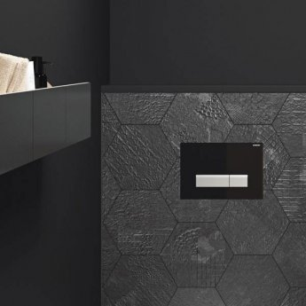 Geberit Sigma 40 Dual Flush Plate With Integrated Odour Extraction, Black Glass