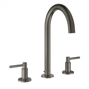 Grohe Atrio Three-Hole M-Size Basin Mixer Tap Pop Up Waste Lever Handles - Brushed Hard Graphite