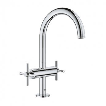 Grohe Atrio L-Size Basin Mixer Tap and Push-Open Waste with Cross Handles - Chrome