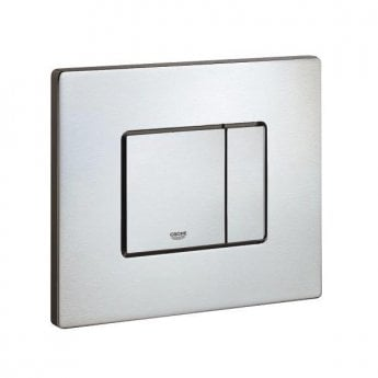 Grohe Cosmo Dual Button Flush Plate, Horizontal, RealSteel