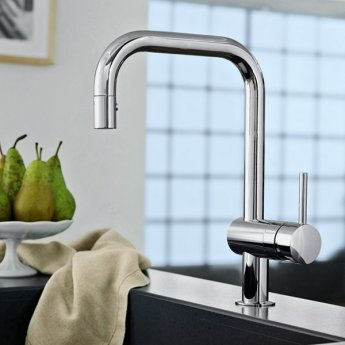 Grohe Minta Mono Kitchen Sink Mixer Tap, Pull-Out U-Spout, Single Handle, Chrome