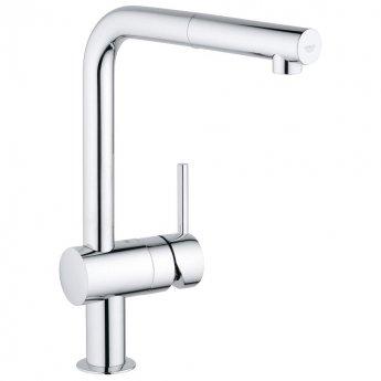 Grohe Minta Mono Kitchen Sink Mixer Tap Pull-Out L-Spout - Chrome