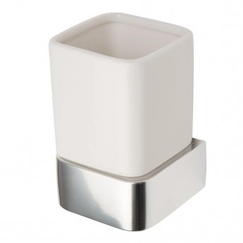 Haceka Aline Ceramic Tumbler Holder - Polished Silver