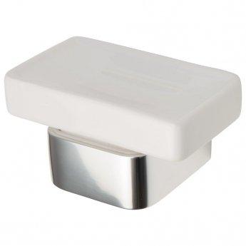 Haceka Aline Ceramic Soap Dish Holder - Polished Silver