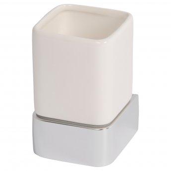 Haceka Aline Ceramic Tumbler Holder - Brushed Silver