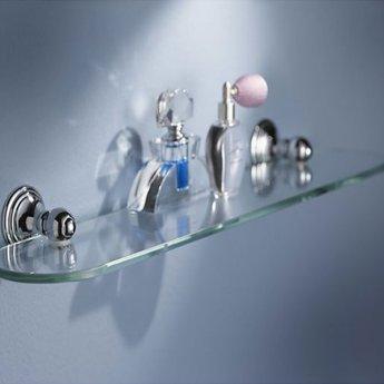 Haceka Allure Glass Shelf, 600mm Wide, Chrome