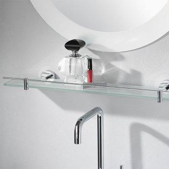 Haceka Kosmos Glass Shelf, 600mm Wide, Chrome