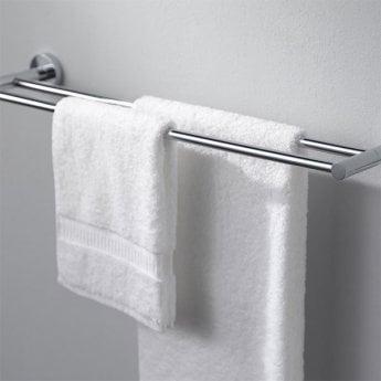 Haceka Kosmos Double Towel Rail, 843mm Wide, Chrome