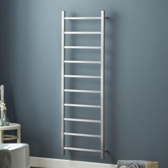 Heatwave Diva Designer Heated Towel Rail Steel 1500mm H x 500mm W - Brushed Stainless Steel