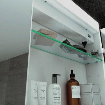 HiB Apex 60 Aluminium Bathroom Cabinet with Mirrored Sides 750mm H X 600mm W