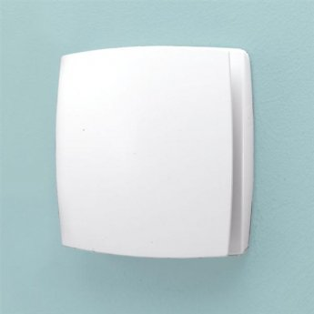HiB Breeze Wall Mounted White Bathroom Fan With Timer 152mm High x 152mm Wide x 33mm Deep