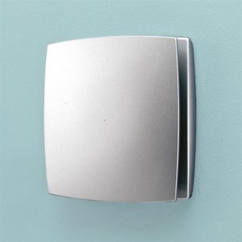 HiB Breeze Matt Silver Bathroom Fan With Timer And Humidity Sensor 152mm H x 152mm W x 33mm D