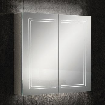 HiB Edge 80 Aluminium LED Double Door Bathroom Cabinet 700mm H x 800mm W x 140mm D