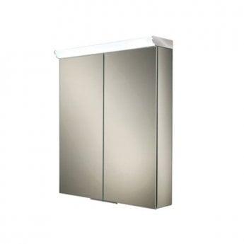 HiB Flare Aluminium Double door Illuminated Bathroom Cabinet 700mm H x 600mm W x 115/150mm D