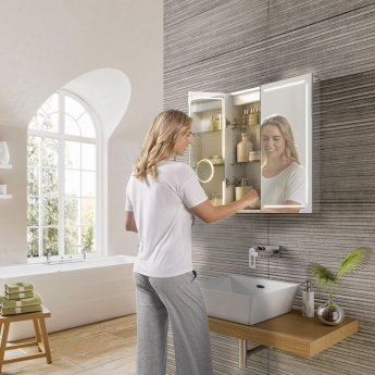 HiB Groove 60 Illuminated Bluetooth Bathroom Cabinet 700mm H X 600mm W