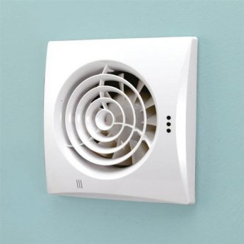 HiB Hush Wall Mounted White Bathroom Fan with SELV 158mm High X 158mm Wide X 30mm Deep