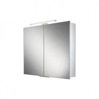 HiB Neutron Aluminium LED Double Door Bathroom Cabinet 700mm H x 600mm W x 125mm D