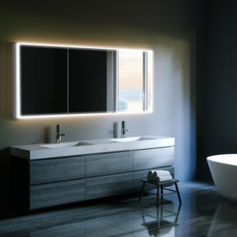 HiB Qubic 120 Double Door LED Bathroom Cabinet 700mm H x 1200mm W x 130mm D