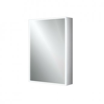 HiB Qubic 50 Aluminium LED Single Door Bathroom Cabinet 700mm H x 500mm W x 130mm D