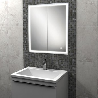 HiB Vanquish 60 Double Door Recessed LED Bathroom Cabinet 730mm H X 630mm W