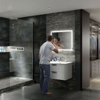 HiB Vega 80 Landscape Demistable LED Bathroom Mirror with Charging Socket 600mm H x 800mm W