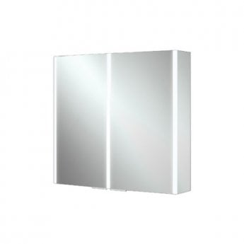 HiB Xenon 80 Aluminium Double Door Bathroom Cabinet with Vertical LED 700mm H x 820mm W x 130mm D