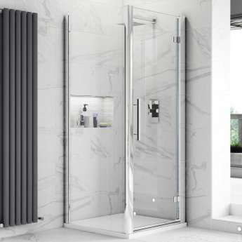 Hudson Reed Apex Hinged Shower Enclosure 700mm x 700mm with Shower Tray - 8mm Glass