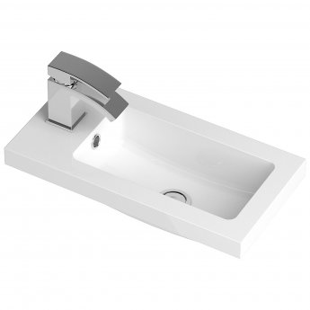 Hudson Reed Apollo Compact Wall Hung Vanity Unit and Basin 505mm Wide Gloss Cashmere 1 Tap Hole