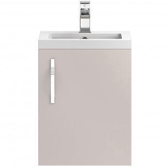 Hudson Reed Apollo Wall Hung Vanity Unit and Basin 405mm Wide Gloss Cashmere 1 Tap Hole